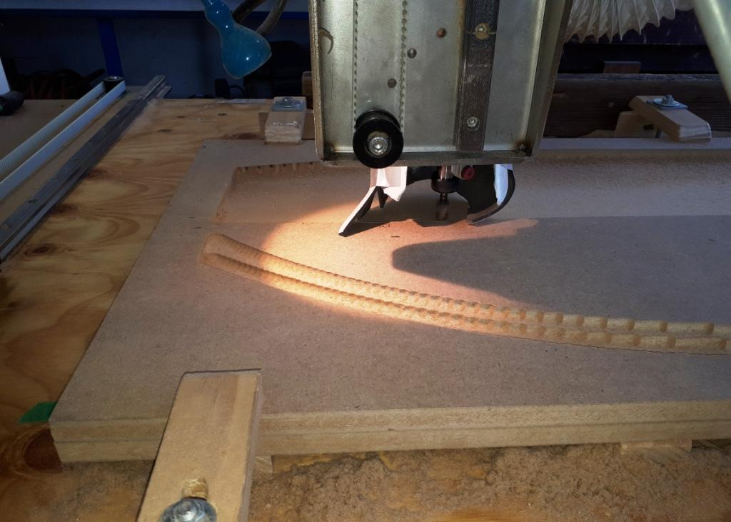 pocket roughing of deep aras on the daggerboard. I prefer to use a finishing cut to roughing levels so the bit is cutting consistent depths.